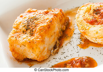 Codfish - Homemade cooked codfish with tomato sauce and...