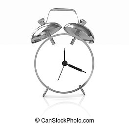 3D illustration of gold alarm clock icon on a white...