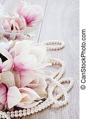 magnolia flowers - fresh pink magnolia flowers with pearls...
