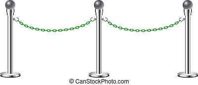Stand chain barriers in silver design with green chain on...
