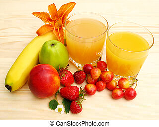 Orange juice and fresh fruit - Still life with orange juice,...