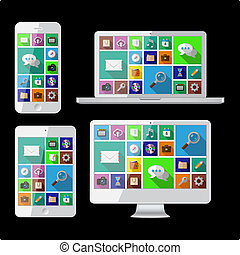 PC, laptop, tablet and cell phone. Vector illustration.
