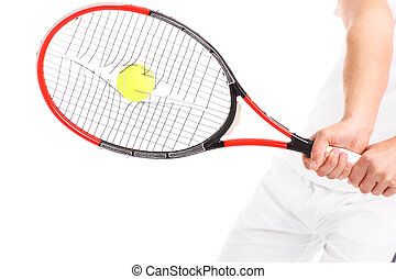 Tennis racket with broken strings - A picture of a tennis...