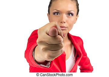 Businesswoman showing fico - Business woman in red jacket...