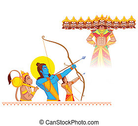 Rama killing Ravana during Dussehra in vector