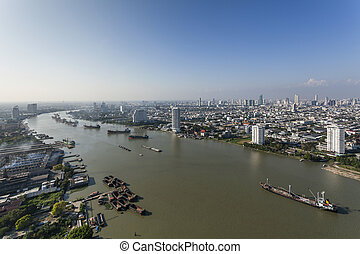 cargo ship - top view cargo ship on Chao Phraya river and...