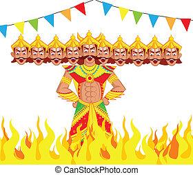 Ravana Dahan, Burning effigy of Ravana in vector