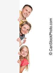 Happy Young Family Holding Banner Isolated On White