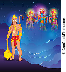Lord Rama, Laxmana, Sita with Hanuman in vector