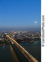 Bangkok Expressway and Rama 9 bridge city scape top view,...