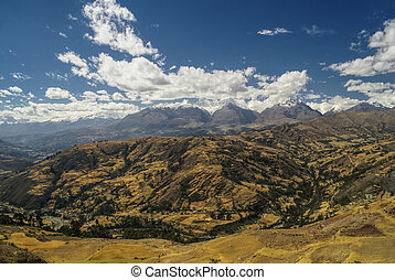 Cordillera Negra in Peru - Panoramic view from the top of...