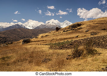 Cordillera Negra in Peru - Scenic view of the slopes of...
