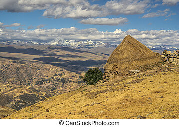 Cordillera Negra in Peru - Picturesque view of a pile of hay...