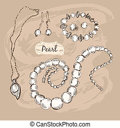 Pearl collection Set of hand drawn graphic illustrations
