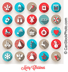 Vector set of Christmas flat icons