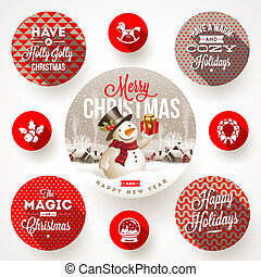 Set of Christmas designs - Set of round frames with...