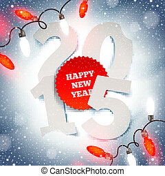 New years greeting illustration - paper year number on snow...