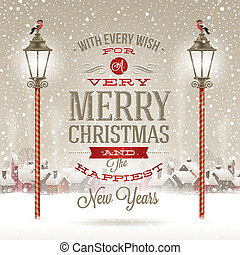 Christmas greeting type design with vintage street lantern...