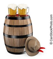 3D oktoberfest. Barrel. Mug of beer. Traditional hat....