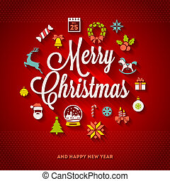 Christmas greeting vector design - holidays lettering and...