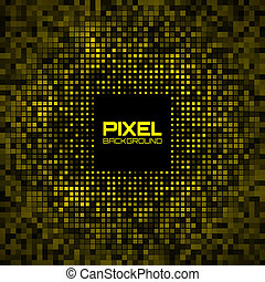 Abstract Pixel Yellow Bright Glow Background. Vector...