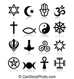 Religion of the world symbols icons - Major religions of the...