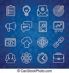 Flat vector icon set of SEO symbols, internet marketing...