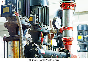 Sewage treatment plants indoors and instrumentation closeup.