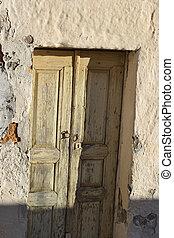 stary, drzwi, zrujnowany, dom, Kefalos