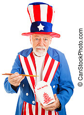 Uncle Sam Eats Chinese Takeout - American icon Uncle Sam...