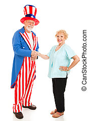 US Citizenship - Woman shakes hands with Uncle Sam. Isolated...