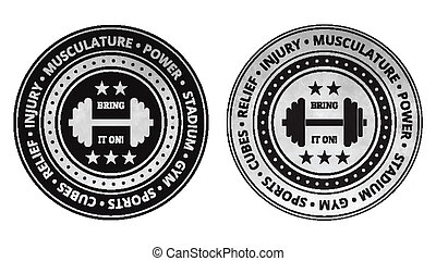 Bodybuilding fitness gym icons vector on a white background.
