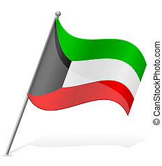 flag of Kuwait vector illustration isolated on white...