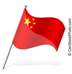 flag of China vector illustration isolated on white...