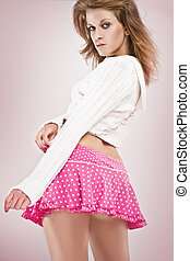 sexy girl wearing pink doty short skirt