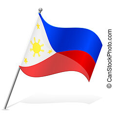 flag of Philippines vector illustration isolated on white...