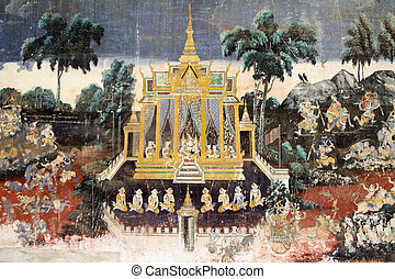 Wall painting at Silver Pagoda in Phnom Penh, Cambodia