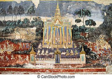 Wall painting at Silver Pagoda in Phnom Penh, Cambodia