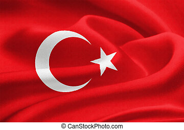 Flag of Turkey waving in the wind Silk texture pattern