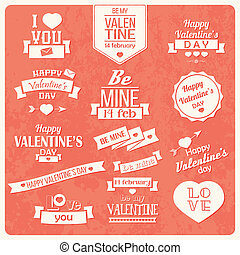 Valentine s day vintage labels - Collection of Valentine s...