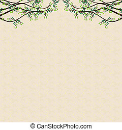 Vector olive tree green background - Vector olive tree on...
