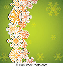 Abstract winter green snowflakes background