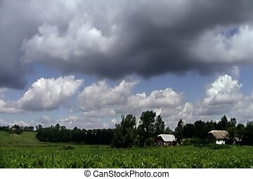 Rustic landscape, sky and deep clouds, time lapse