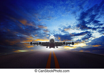 jet plane take off from urban airport runways use for air...