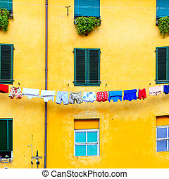 Clothes airing outdoor in Lucca, Italy