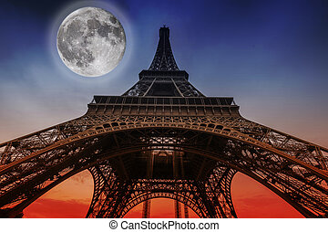 Eiffel tower, Paris, France - Moon over the Eiffel Tower,...