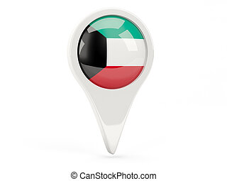 Round flag icon of kuwait isolated on white
