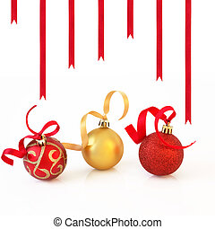 Christmas Baubles and Ribbons - Christmas baubles in...
