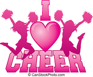 I Love Cheer - Illustration of a cheer design for...