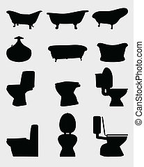 bath - Silhouettes of toilet bowl and bathtubs, vector